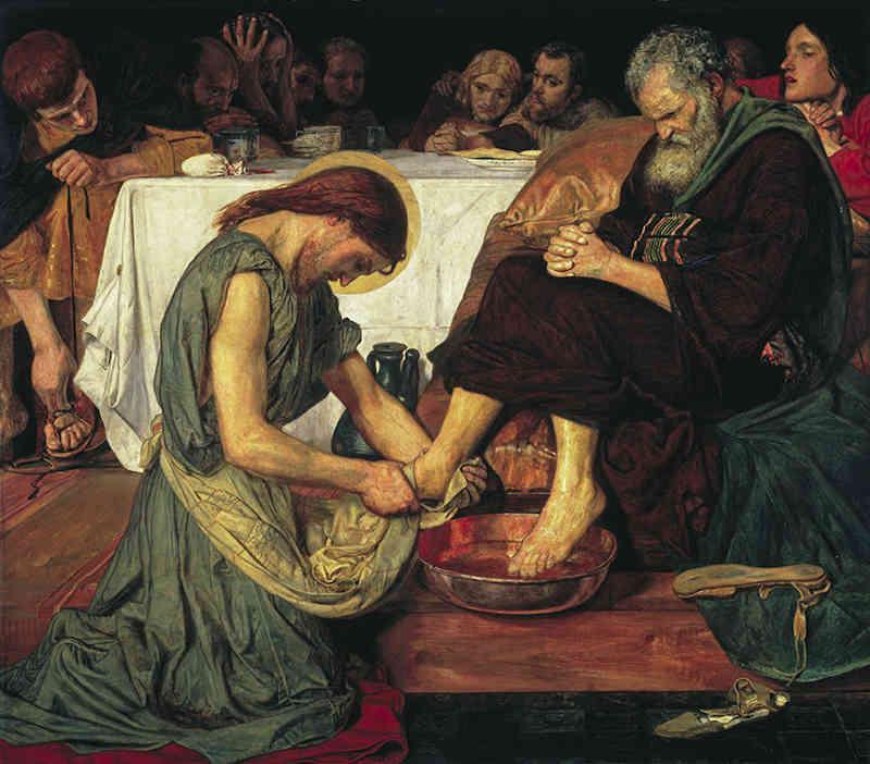 Mostra Preraffaelliti Amore e desiderio: Ford Madox Brown (1821-1893), Gesù lava i piedi di Pietro, 1852-56. Olio su tela, cm 116,2 x 132,7. Tate: Presented by subscribers 1893. ©Tate, London 2019