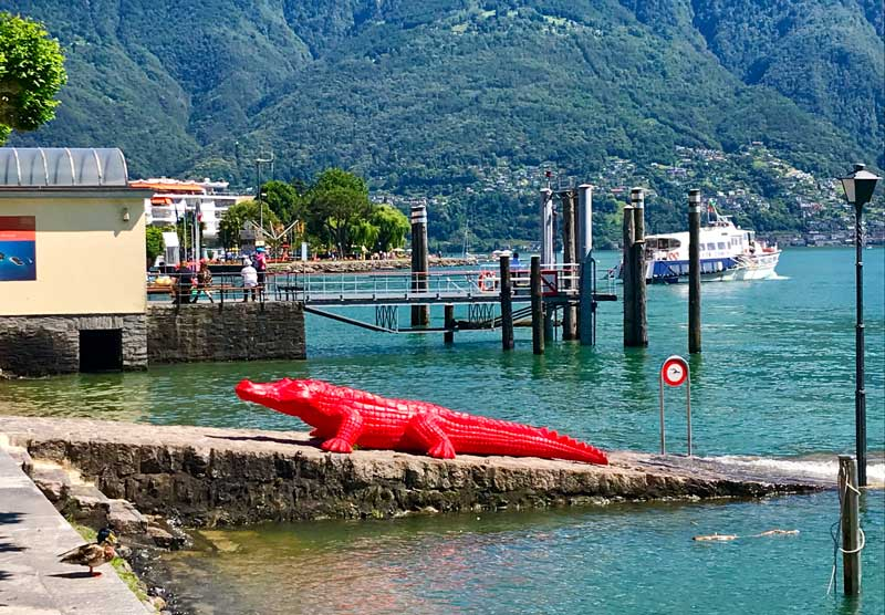Cracking Art Ascona, alligatore in riva al lago - Photo by MaSeDomani