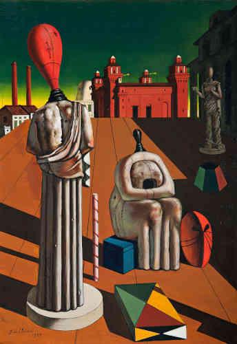 Giorgio de Chirico, Le muse inquietanti, 1925 (1947/1919). Olio su tela, 97 x 66 cm. Roma, Galleria Nazionale d'Arte Moderna e Contemporanea. © Giorgio de Chirico by SIAE 2019