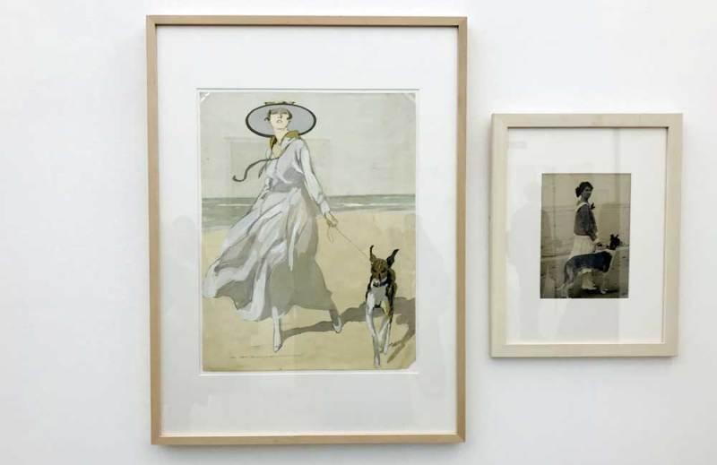 Marcello Dudovich, donna sulla spiaggia con cane (1922) - Photo: MaSeDomani