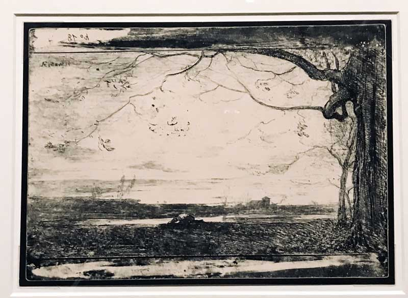 Antonio Fontanesi, cliché-verre, Paysan qui se désaltère à un cours d'eau (1863-64) – Photo: MaSeDomani