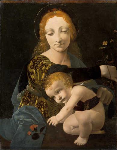 Giovanni Antonio Boltraffio (Milano, 1467 – 1516), Madonna con Bambino (Madonna del fiore). Olio su tavola, c. 1487 – 1488. © Milano, Museo Poldi Pezzoli, inv. 1609