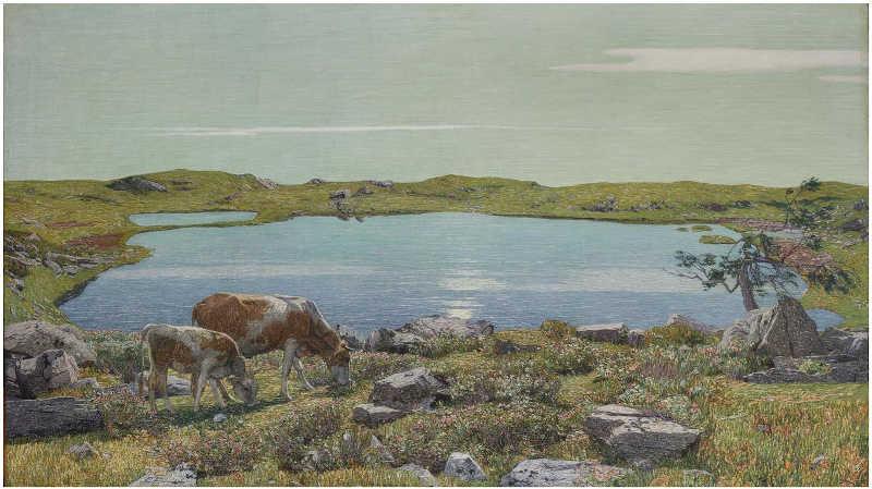 Carlo Fornara, Fontanalba, non datato (1904-1906). Olio su tela, 96x166 cm, siglato in basso a sinistra. Collezione privata. Dalla mostra Divisionismo La rivoluzione della luce