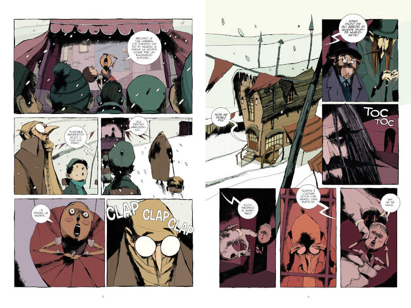 Due tavole del graphic novel Geppetto – Storia di un padre, edito da Bugs Comics. Photo Courtesy: Bugs Comics