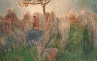 Gaetano Previati, Maternità, 1890-1891. Olio su tela, 175,5x412 cm, firmato in basso a destra. Banco BPM
