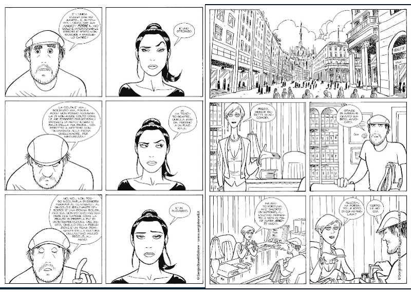 Due tavole del graphic novel Quei due, edito da Sergio Bonelli Editore. Photo Courtesy: Sergio Bonelli Editore
