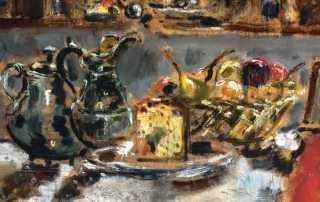 Filippo de Pisis, Natura morta con panettone, 1941. Olio su tavola, 44,5 × 48,5 cm. Udine, Casa Cavazzini Museo d'Arte Moderna e Contemporanea. © Filippo de Pisis by SIAE 2019