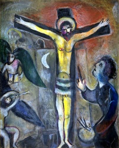 mostra GAUGUIN MATISSE CHAGALL - Marc Chagall (Vitebsk 1887 – Saint-Paul de Vence 1985), Le Christ et le peintre, 1951, gouache e pastelli su carta applicata su cartoncino; © Governatorato SCV Direzione dei Musei