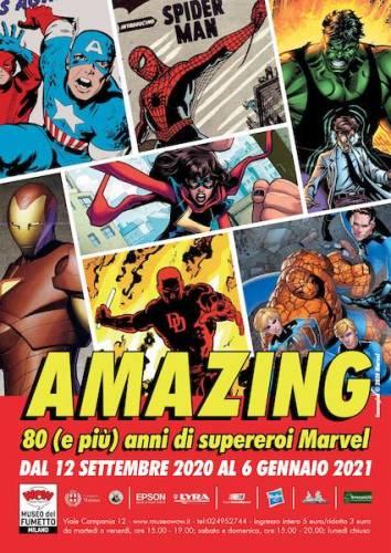 Il manifesto della mostra AMAZING 80 anni di supereroi Marvel