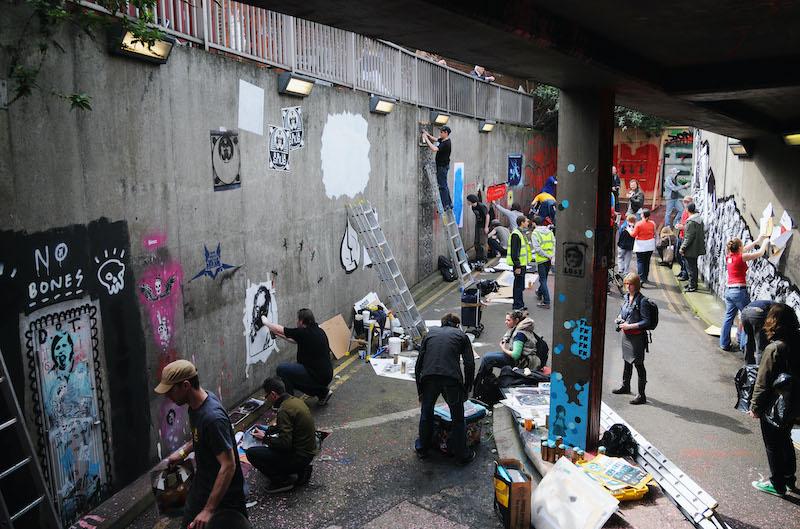 Artisti del 3 days 'Cans Festival' organizzato a Londra nel 2008 da Banksy - Photo by Jim Dyson/Getty Images, courtesy of Adler Entertainment.