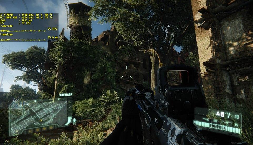 Crysis 3 en el MSI GE63VR 7RE Raider (49 a 76 FPS en Muy Alto a 1080p)