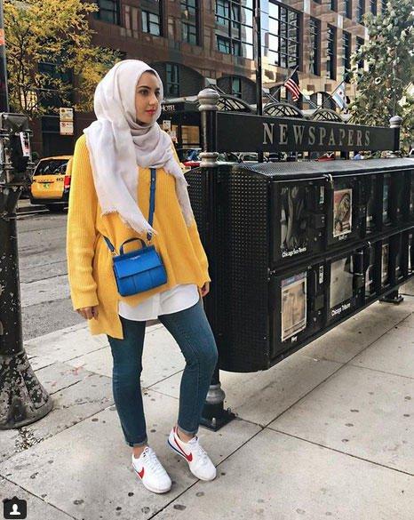 صور ملابس محجبات باللون الاصفر مشاهير