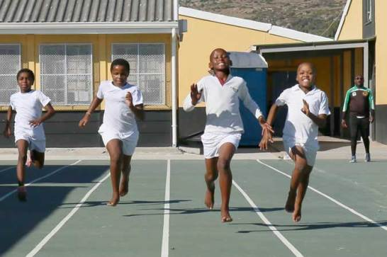 2016 - the new sports court and sprint track are up and running at Ukhanyo School