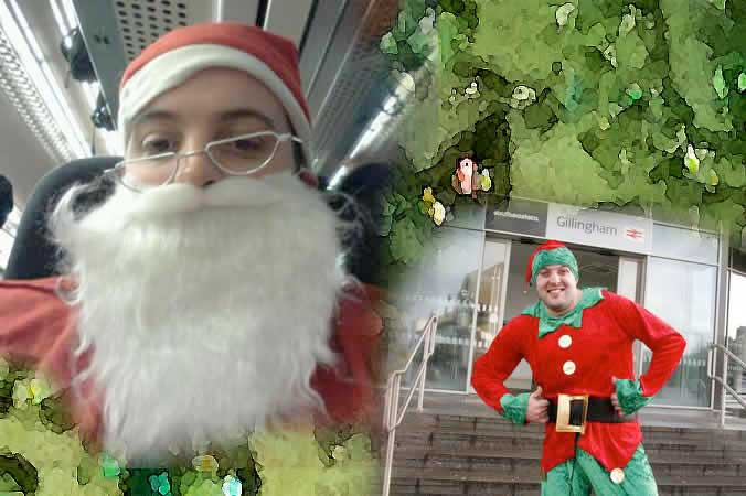 Jon Douglas dressed up as an Elf to entertain London commuters for Masicorp and raised over £1000