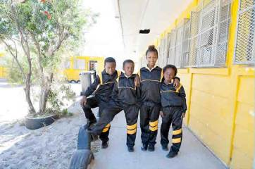 Students enjoy their great new tracksuits - their winter uniform