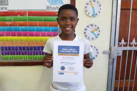 1 child, certificate, standing and indoors