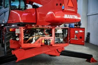 En Manitou i MRT-serien med Bi-Energy som gör att den kan köras på med nätansluten el.