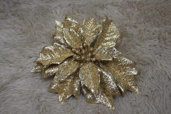 Gold Glittery Poinsettia - Masons Home Decor Singapore