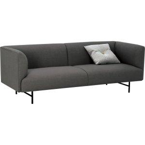 Navara Sofa with Matt Black Epoxy leg, Grey colour Crepon fabric by masons home decor