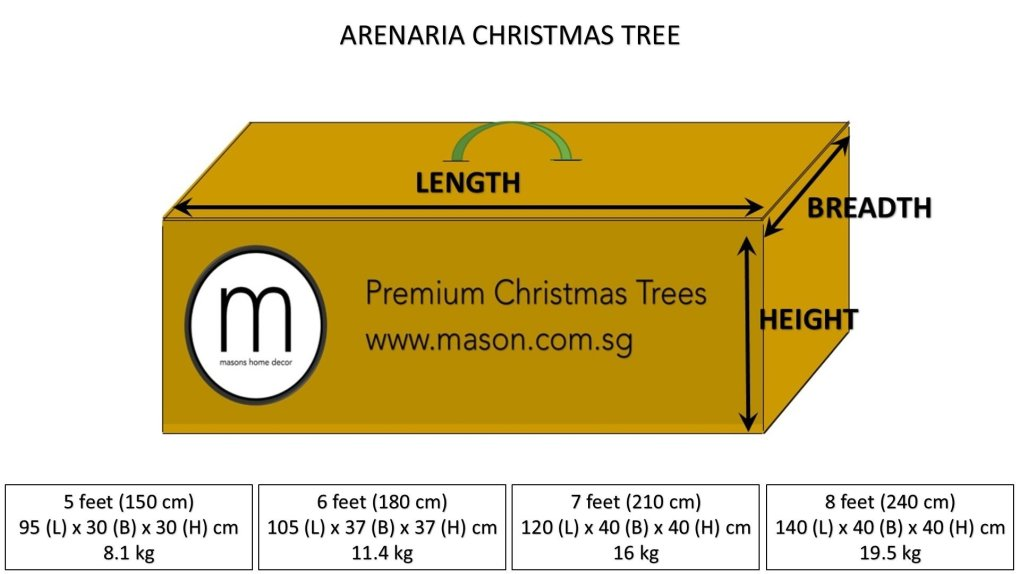 arenaria christmas tree dimensions and weight