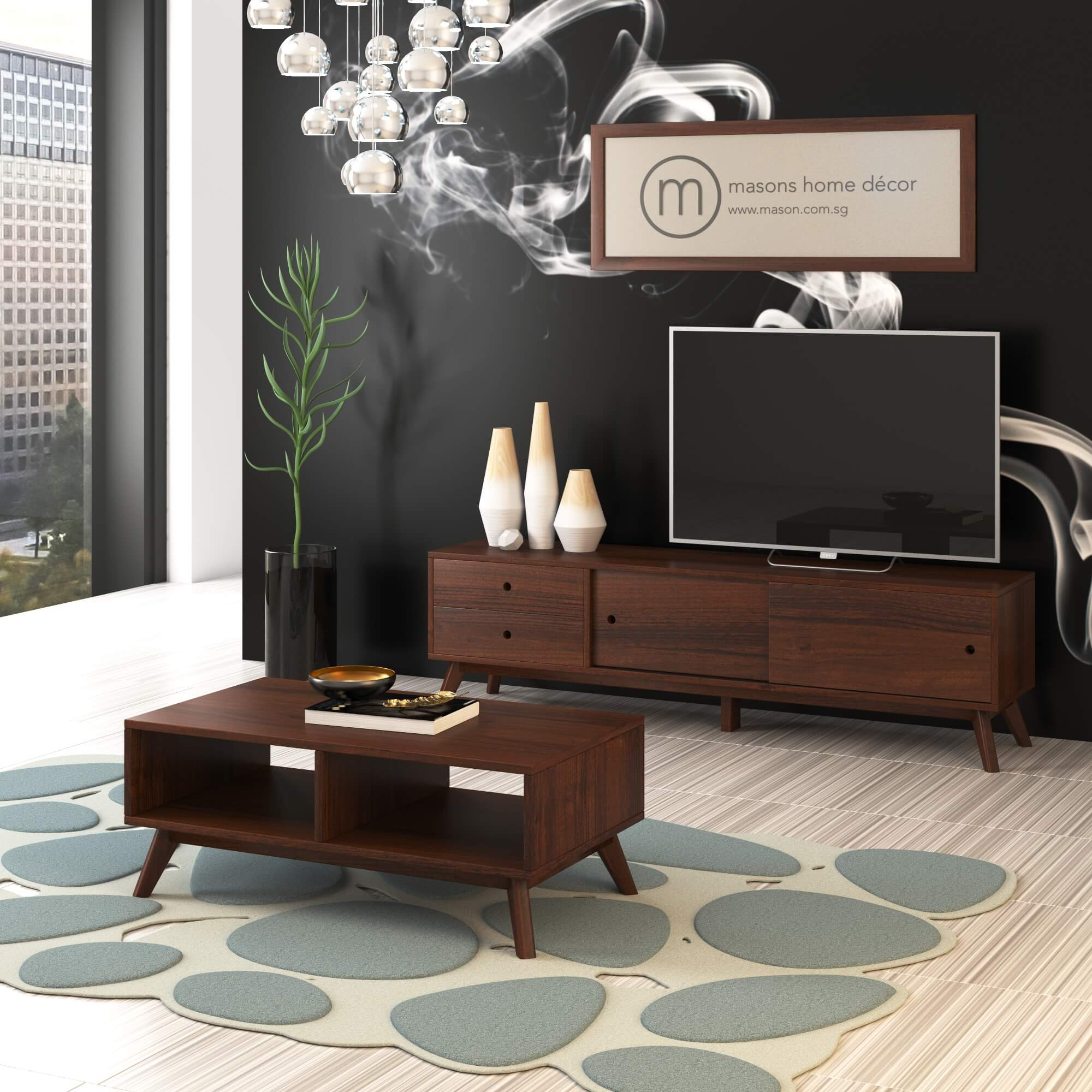 decape tv console and coffee table