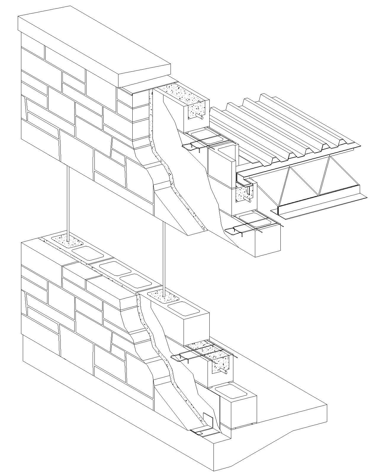 Barrier wall stone veneer reinforced concrete block