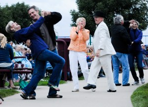 Barry and Cindy Neal, front, Jac and Mary Russell, dance to the Glenn Miller Band.