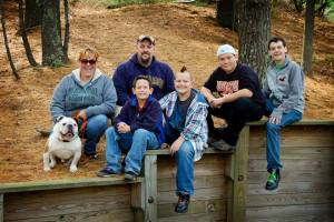 Jett, far left, is pictured with his family: Marnie and Jerome (mom and dad), and brothers Joey, 11; Jade, 13 and JT, 15.