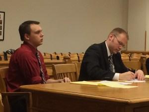 Eric Knysz, left, with his attorney, David Glancy.