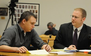 Eric Knysz with his attorney, David Glancy