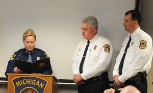 MSP Col. Etue recognizes Ludington Police Chief Mark Barnett and Capt. Mike Harrie.