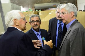 FloraCraft owner Lee Schoenherr, left, along with Scatena, Hansen and the governor.