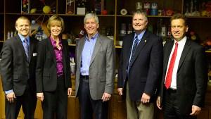Ludington Mayor Ryan Cox, left; Kathy Maclean, CEO of the chamber; Gov. Snyder; Sen. Hansen and county administrator Fabian Knizacy.