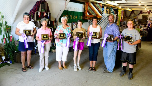 Domestic Arts Best of Class winners. From left: Christy Allen, Norma Andersen, RuthAnn Donald, Ann Gilchrist, Julie Tews, David Root, David Robinson.
