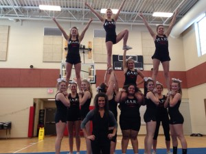 The Hart High School competitive cheer team.
