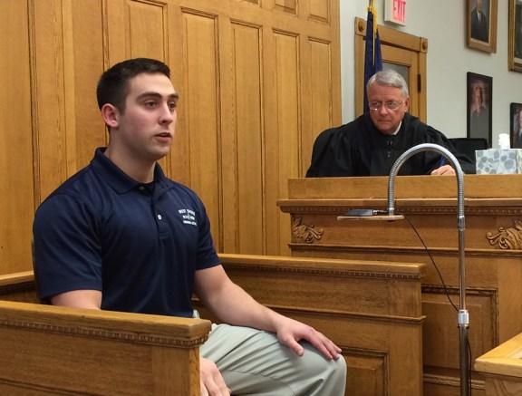 Cadet Tyler Billow testifies in front of Judge Wadel.