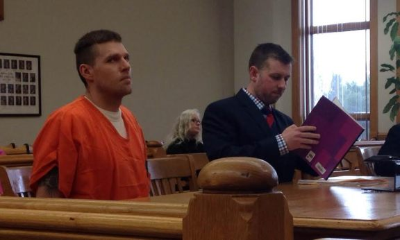 Benjamin Bentz, with his attorney, Ryan Maesen, during a hearing in 51st Circuit Court in April.