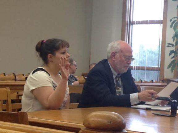 Melissa VanDerZanden pleads in 51st Circuit Court, with her attorney Doug Stevenson.