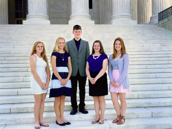 Left to right:  High school students Sarah Pavey (Frederic), Janay Smith (South Boardman), Sanford Narmore (Custer), Emily Kurburski (Harbor Springs) and Brooke Thurow (Scottville) attended the Electric Co-op Youth Tour in Washington, D.C. June 13-18 as representatives of Great Lakes Energy.