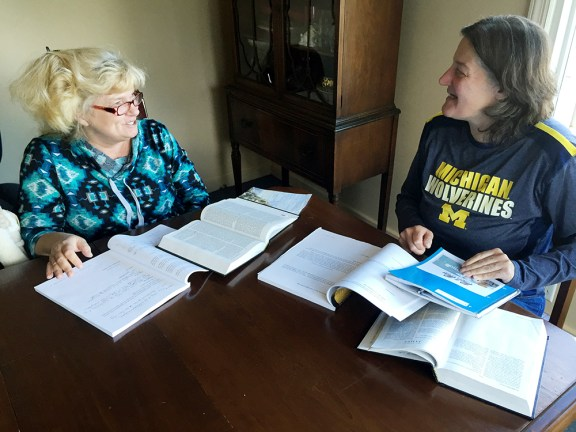 Theresa and Linda hold a Bible study at Jericho House.