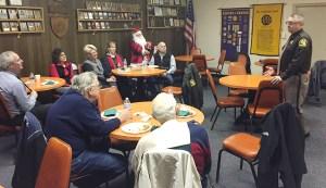 Sheriff Kim Cole speaks to the Scottville Optimist Club.