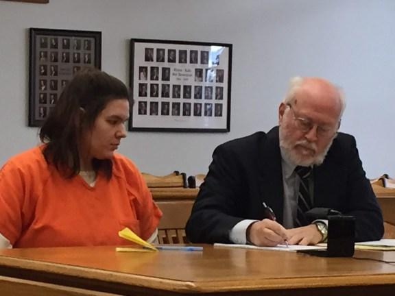Andrea Benet King Pena with her attorney, Douglas Stevenson.