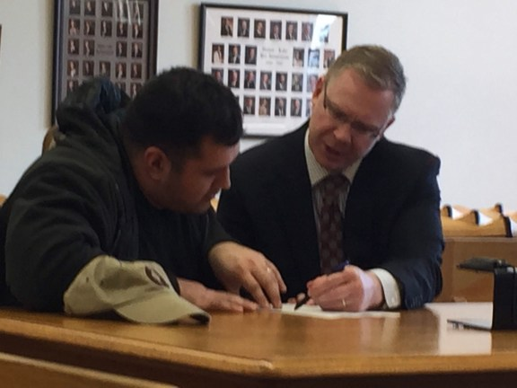 Manuel Vega with his attorney, Ryan Glandville.