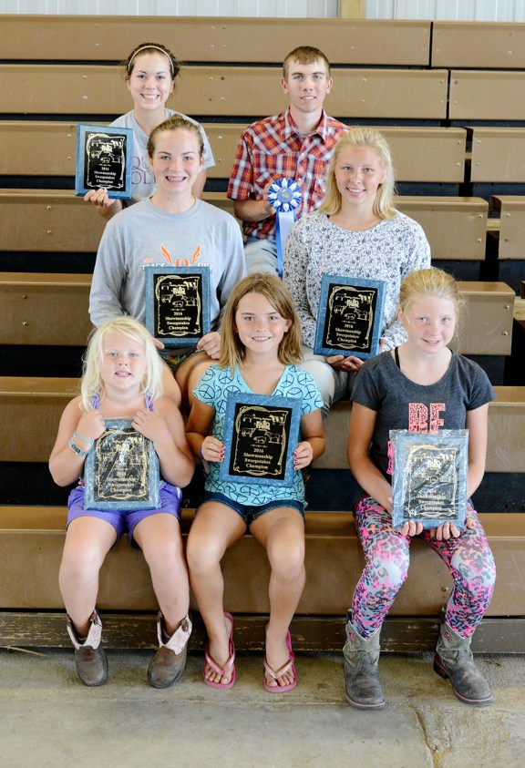 Large animal sweepstakes: Front row, from left: 5-6-year-old: Isabel Babbin, first; 7-8: Jessica Petersen, first; 9-10: Briana Crawford, first. Middle row: 11-13: Andrea Shoop, first; 14-16: Faith Whitaker, first; Back row: 17-19: AmyGrace Shoop, first, Preston Kelly, second. Missing: 5-6: Tyler Englebrecht, second; 7-8: Parker Overmyer, second; 9-10: Brayden Overmyer, second; 14-16: Erin Wittlieff, second.