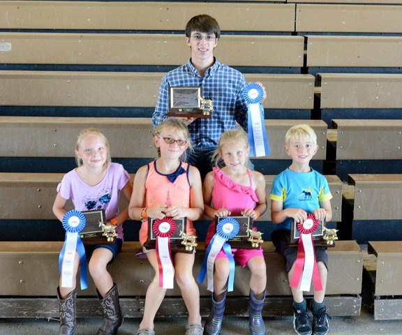 Goat showmanship: In front, from left: 7-8-year-old: Keili Johnson, first, Lucy Shoup, second; 5-6: Brailyn Johnson, first, Afton Shoup, second. In back: 17-19: Abrahahm Shoup, first. Missing: 17-19: Stephanie Doyle, second; 14-16: Miriam Wilson, first, Alexandrea Root, second; 11-13: Rachel Doyl, first, Ella Pylman, second; 9-10: Brianna Crawford, first, Morgan Allen, second. Costume contest: Keeli Johnson. Best of Breeds: Miriam Wilson. Milking: Miriam Wilson.