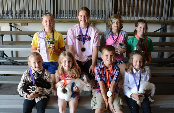 Rabbit Best of Breed: Front row, from left: Mikalyn Kenney, reserve of show, mini satin; Miriam Wilson, Dutch; Allison Diehm, lionhead; Julia Gilchrist, Poish. Second row: Brailyn Johnson, rex; Molly Mosier, New Zealand; Jackson Cooper, Californian; Chloee Harris, mini lop. Missing: Haley Weidus, best of show, mini rex; Chloe Genter, Holland lop; Autumn Weidus, English angara; AmyGrace Shoop, Netherland Dwarf.