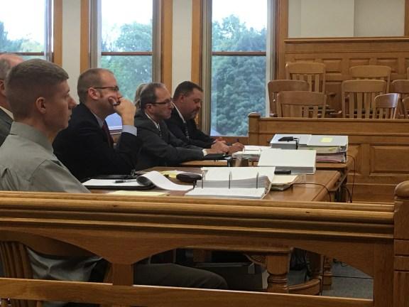 Shown from left: Sean Phillips, defense attorney David Glancy, Mason County Prosecutor Paul Spaniola, Mason County sheriff Det. Sgt. Tom Posma.