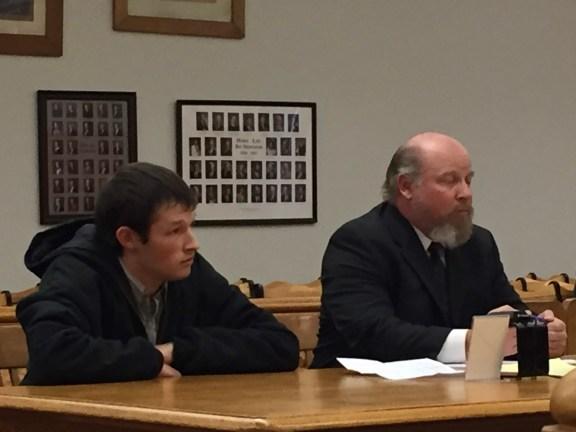 Grayson Milton with his attorney, Blaine Bowne.