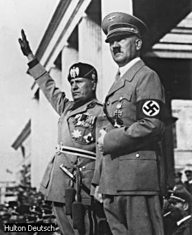 Reactionaries Hitler and Mussolini (left) arose during great economic upheaval and the defeat of the labor movements.