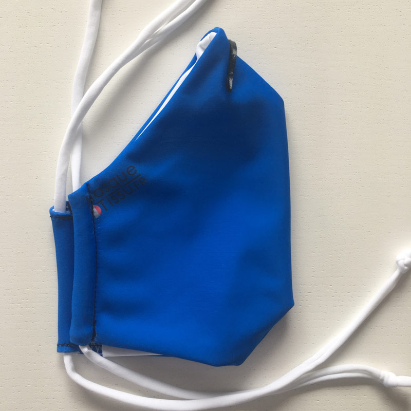Masque en tissu bleu fabriqué en france